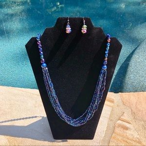 Vtg Faceted Carnival Bead Jewelry Set